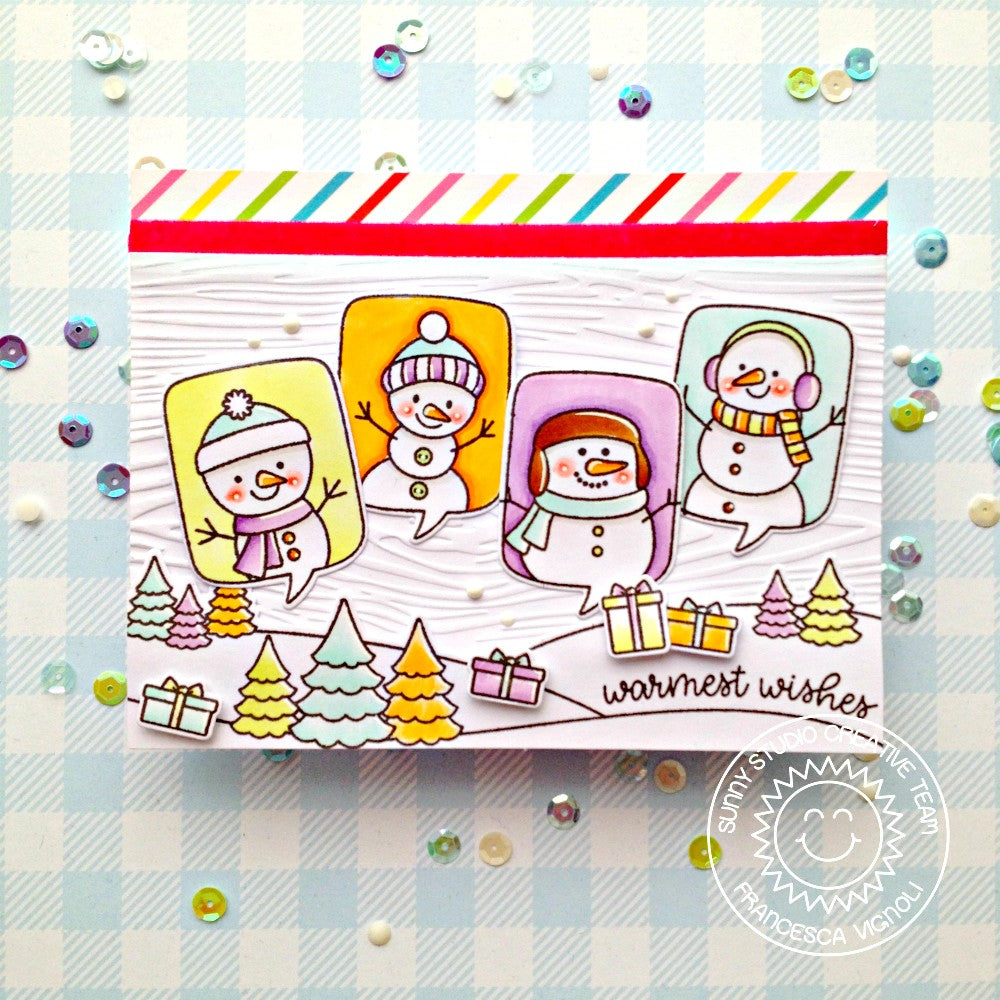 Sunny Studio Stamps Snowmen White Wood Embossed Holiday Christmas Card (using Woodgrain 6x6 Embossing Folder)