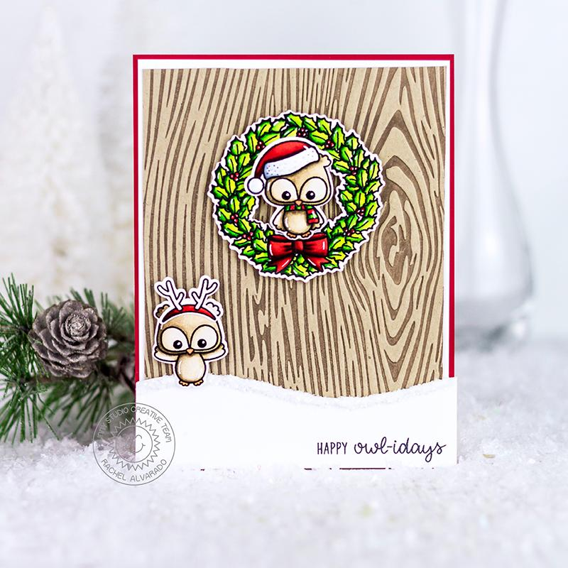 Sunny Studio Stamps Happy Owlidays Owl Wood Embossed Texture Holiday Christmas Card (using Woodgrain Embossing Folder)