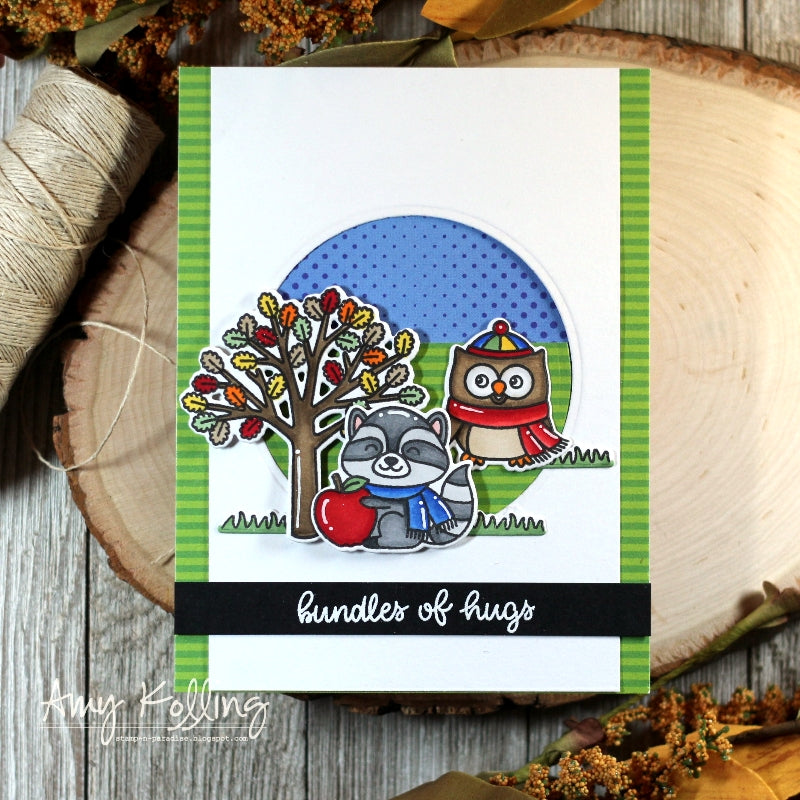 Sunny Studio Stamps Woodsy Autumn Fall Handmade Window Card by Amy Kolling