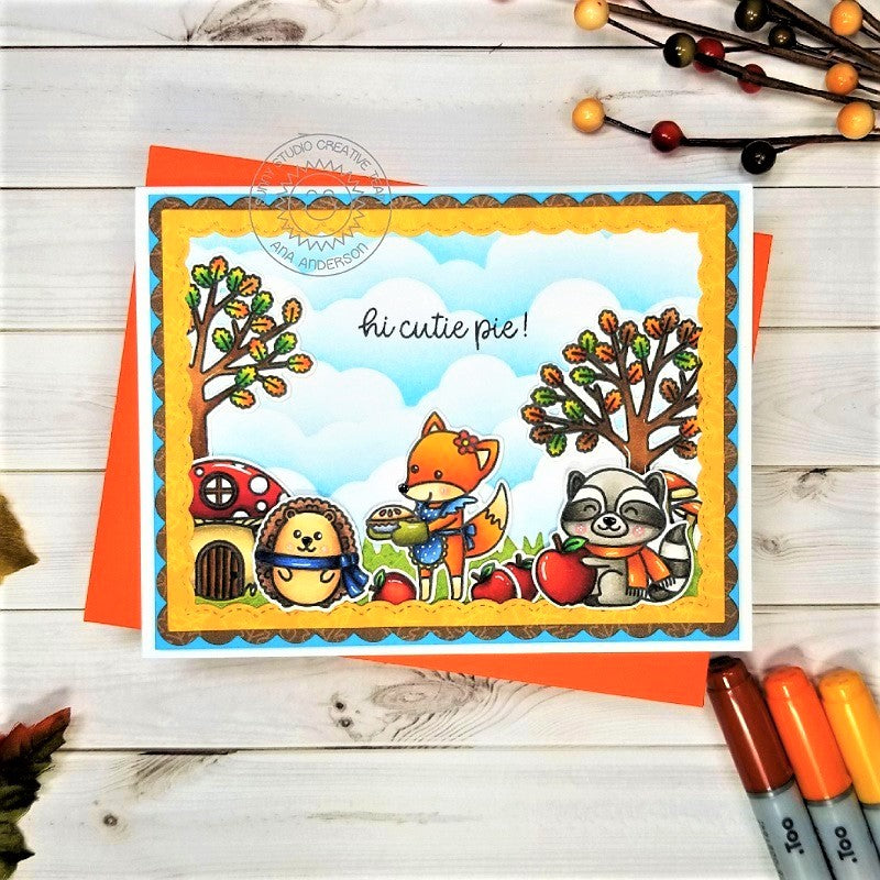 Sunny Studio Stamps Woodsy Autumn Fox, Raccoon & Hedgehug Hi Cutie Pie! Fall Card