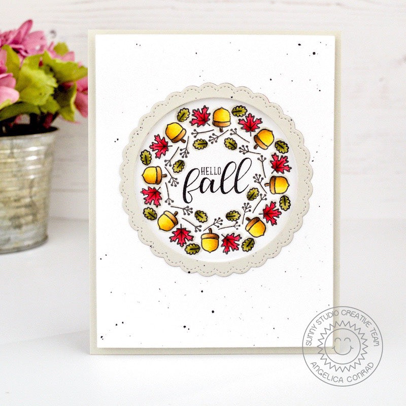 Sunny Studio Stamps Happy Fall Leave Wreath Card using Woodsy Autumn Stamps