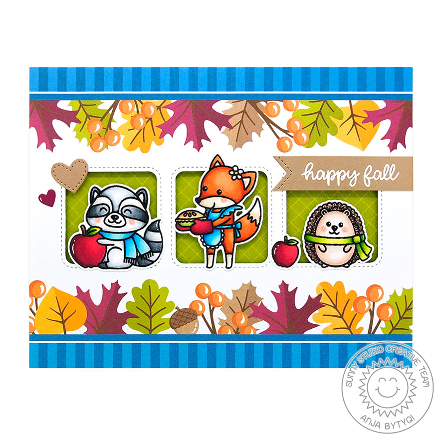 Sunny Studio Stitched Triple Window Fall Card using Window Trio Square Dies