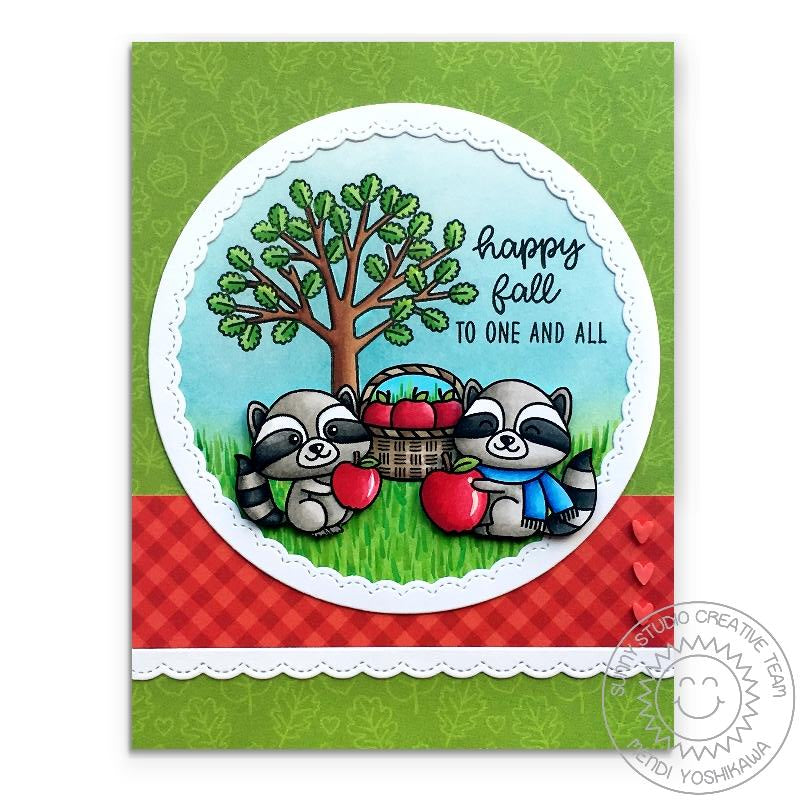 Sunny Studio Stamps Woodsy Autumn Happy Fall To One And All Raccoons with Apple Red Gingham & Green Leaves Handmade Card