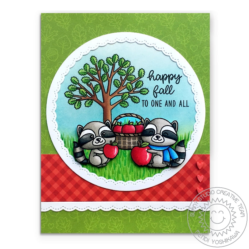 Sunny Studio Stamps Woodsy Autumn Raccoons with Apples Fall Card using Red Clay Hearts from Red & Pink Heart Confetti