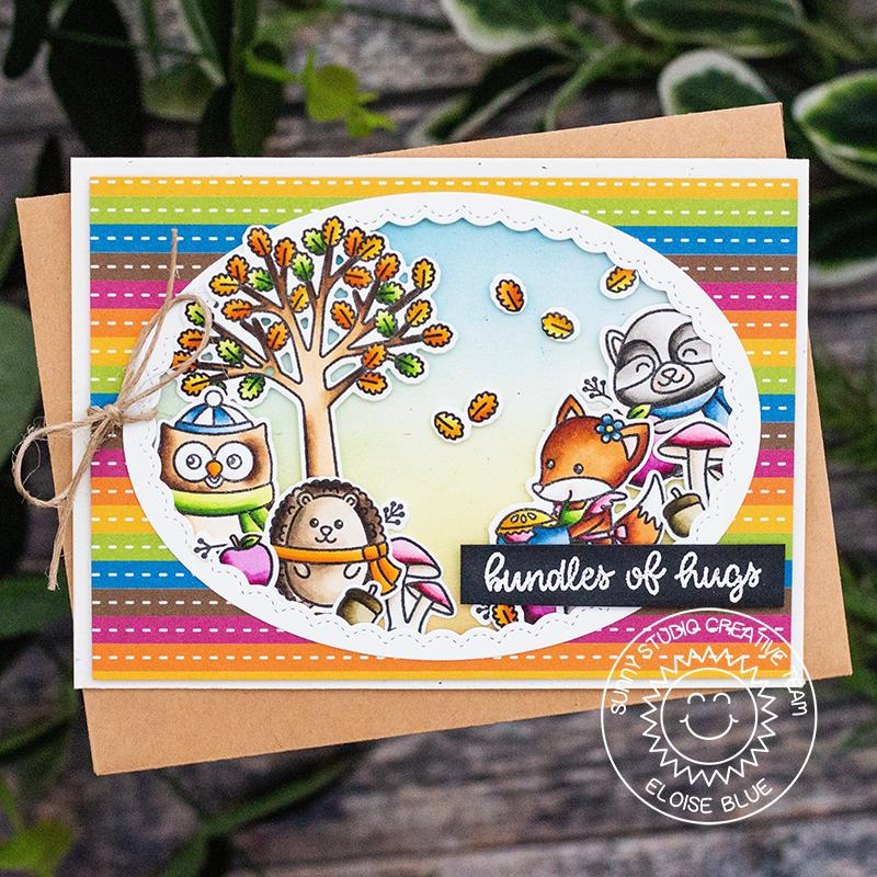 Sunny Studio Stamps Fall Critters with Tree Scene Rainbow Striped Card (using Colorful Autumn 6x6 Patterned Paper Pack)