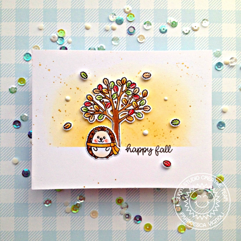 Sunny Studio Stamps Happy Fall Hedgehog with Tree Card using Woodsy Autumn Stamps