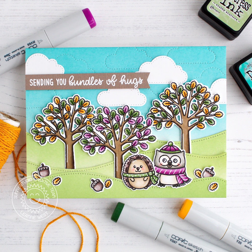Sunny Studio Stamps Woodsy Autumn Fall Trees with Owl & Hedgehog Handmade Card by Leanne West