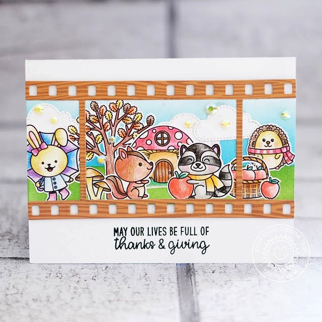 Sunny Studio Stamps Woodsy Autumn Fall Critters Bunny, Raccoon & Hedgehog Scene Handmade Card by Lexa Levana using Fall Flicks Filmstrip Dies
