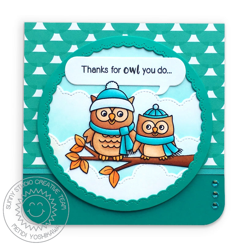 "Sunny Studio Stamps Fall Leaves Owls with Hats & Scarfs on Tree Branch ""Thanks For Owl You Do"" Punny Card (using Stitched Fluffy Cloud Border Dies)"
