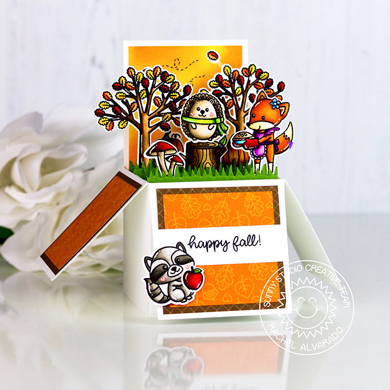 Sunny Studio Stamps Woodsy Autumn Happy Fall Fox, Hedgehog & Raccoon Pop-up Box Interactive Card by Rachel