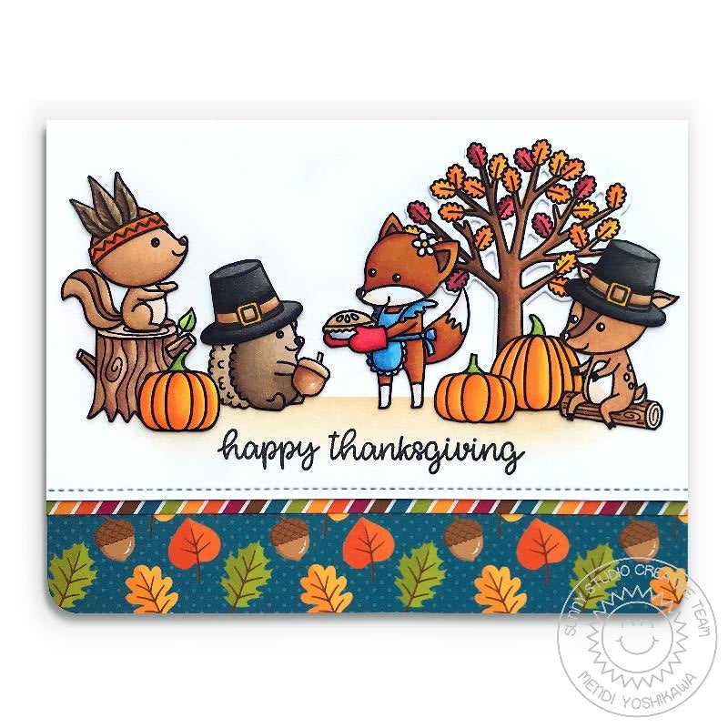 Sunny Studio Stamps Woodsy Autumn Critter Pilgrims & Native American Thanksgiving Handmade Card with Fall Leaves & Pumpkins