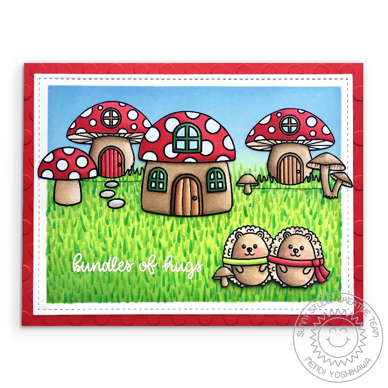 "Sunny Studio Stamps Woodsy Autumn Red & White Toadstool Mushroom House with Hedgehogs wearing scarves ""Bundles of Hugs"" Handmade Card"