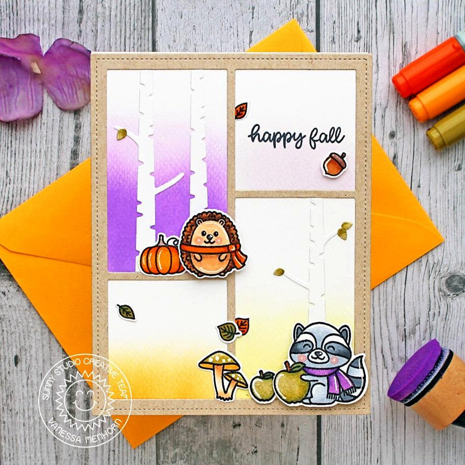 Sunny Studio Stamps Happy Fall Hedgehog & Raccoon Card (using Rustic Winter Birch Tree Dies)