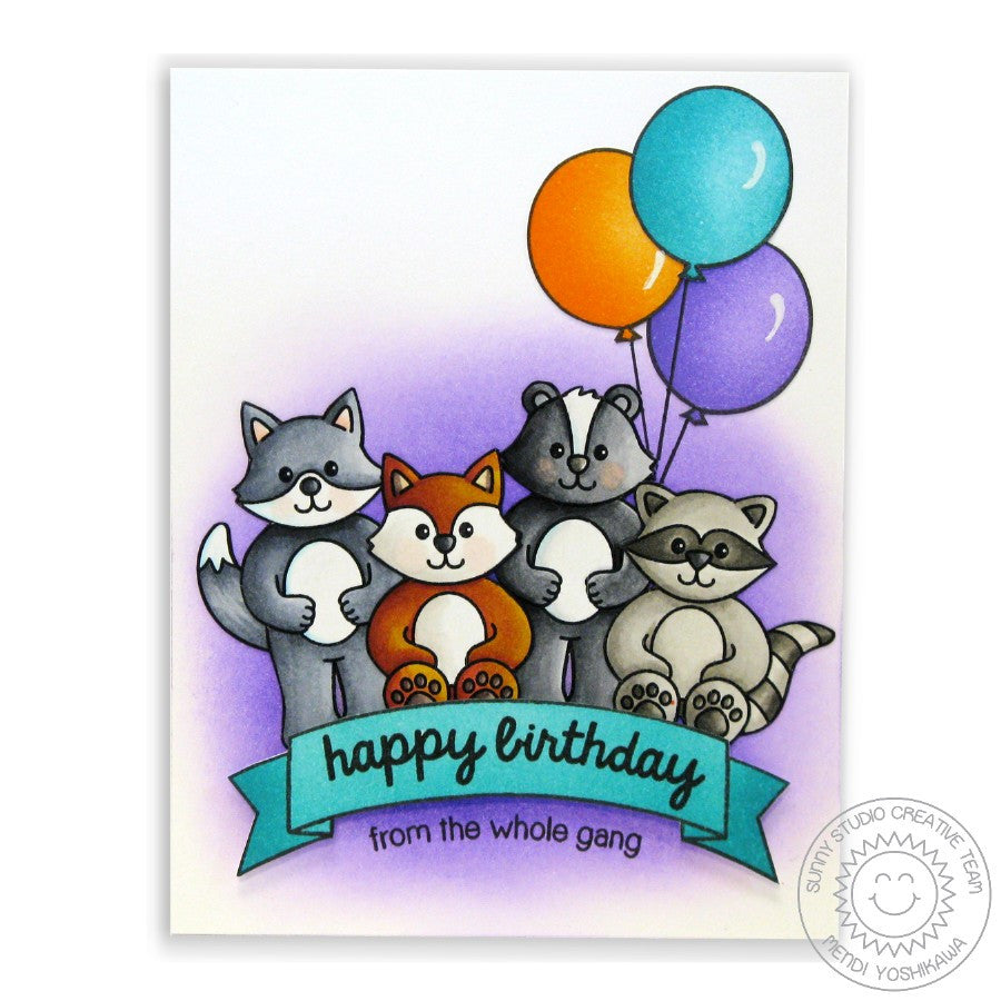 Sunny Studio Stamps Woodsy Creatures Critter Happy Birthday From The Whole Gang Card