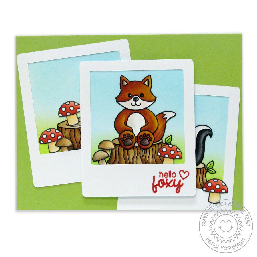 Sunny Studio Stamps Woodsy Creatures Fox in Polaroid Frame Card