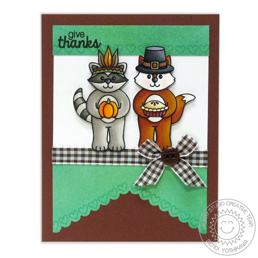 Sunny Studio Stamps Give Thanks Pilgrim & Native American Thanksgiving Handmade Card with Scalloped Edge (using Fishtail Banner II Metal Cutting Dies)