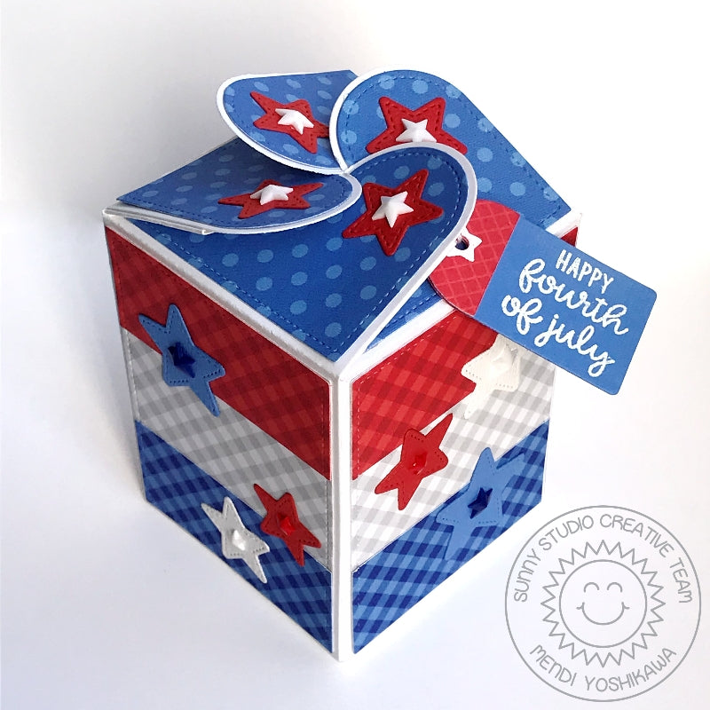 Sunny Studio Stamps Fourth of July Red, White & Blue Patriotic Stars and Stripes Gingham treat box (using Wrap Around Gift Box dies)