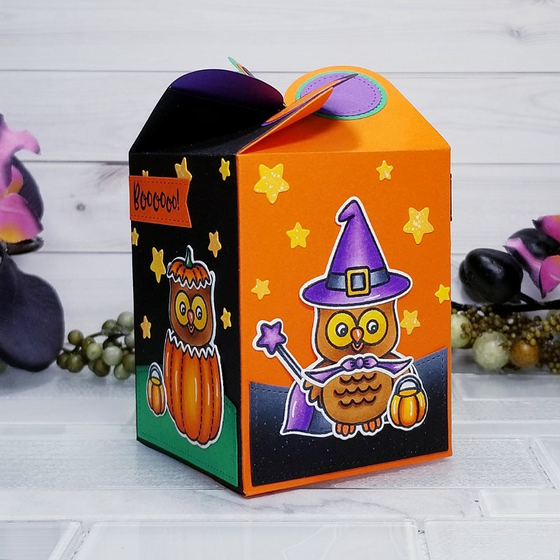 Sunny Studio Stamps Happy Owl-o-ween Halloween Owl Treat Gift Box (using Wrap Around Box cutting dies)