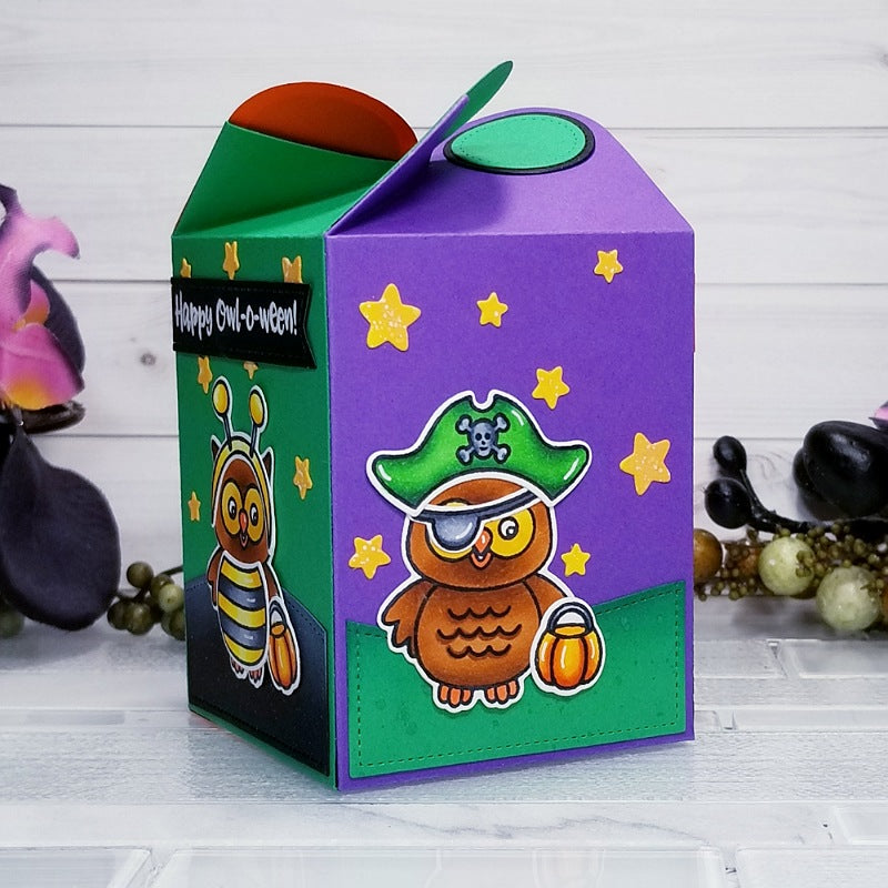 Sunny Studio Stamps Happy Owl-o-ween Halloween Owl Treat Gift Box by Ana Anderson (using Wrap Around Box cutting dies)
