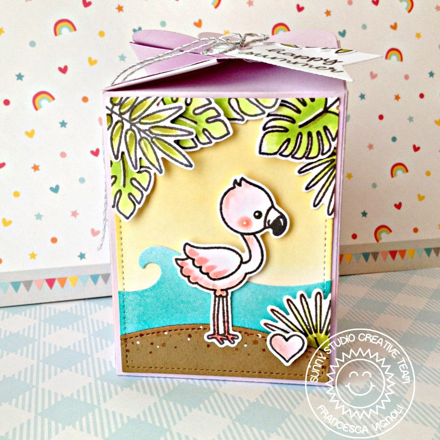 Sunny Studio Stamps Fabulous Flamingos Wrap Around Summer Treat Box (using Catch A Wave Border Dies)