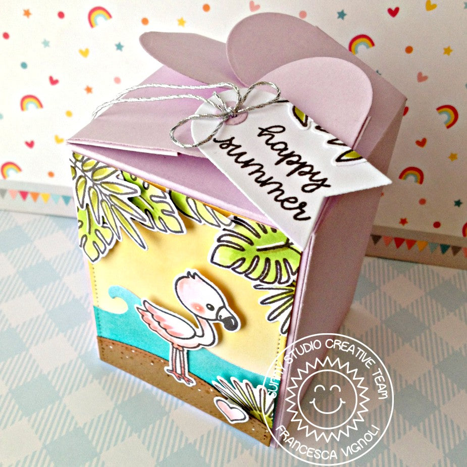 Sunny Studio Stamps Fabulous Flamingo Happy Summer Wrap Around Treat Box with Gift Tag