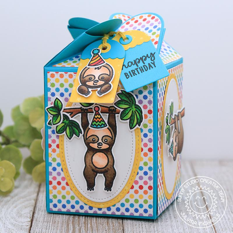 Sunny Studio Stamps Silly Sloths Birthday Gift Treat Box (featuring Surprise Party 6x6 Paper)