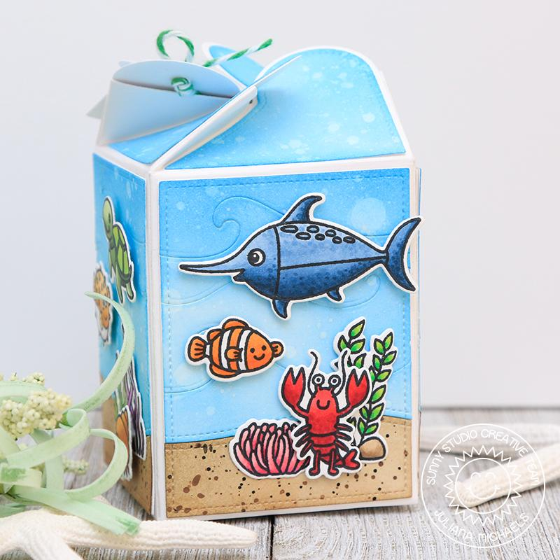 Sunny Studio Stamps Ocean Themed Wrap Around Treat Box (using Catch A Wave Dies for background)