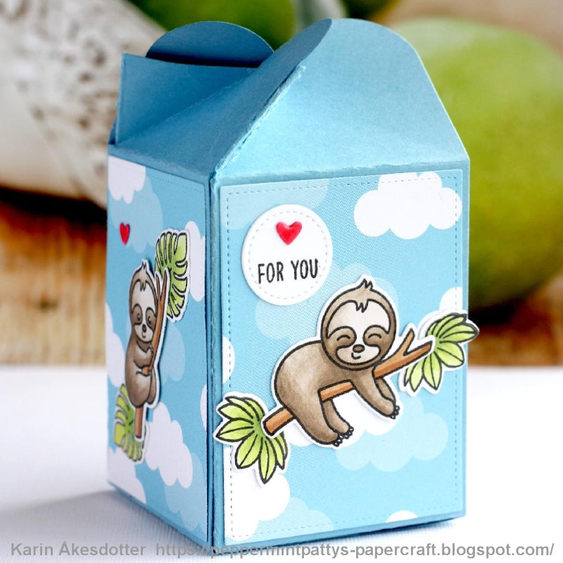 Sunny Studio Stamps Silly Sloths With Blue Cloud Print Sky & Red Hearts Treat Gift Box by Karin