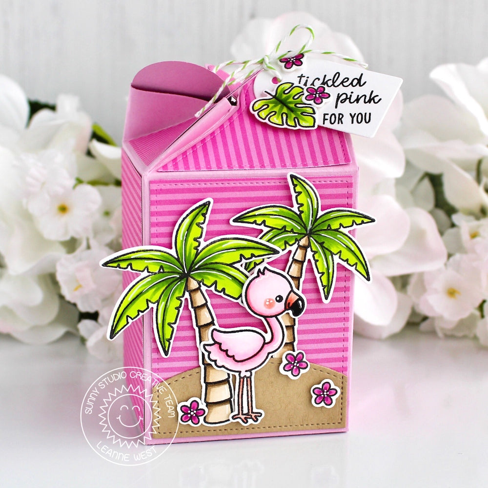 Sunny Studio Stamps Pink Striped Fabulous Flamingos & Palm Trees Wrap Around Gift Box by Leanne West