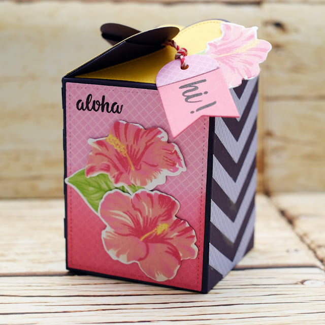 Sunny Studio Stamps Hawaiian Hibiscus Layered Flower Themed Gift Treat Box (using Wrap Around Box Dies)