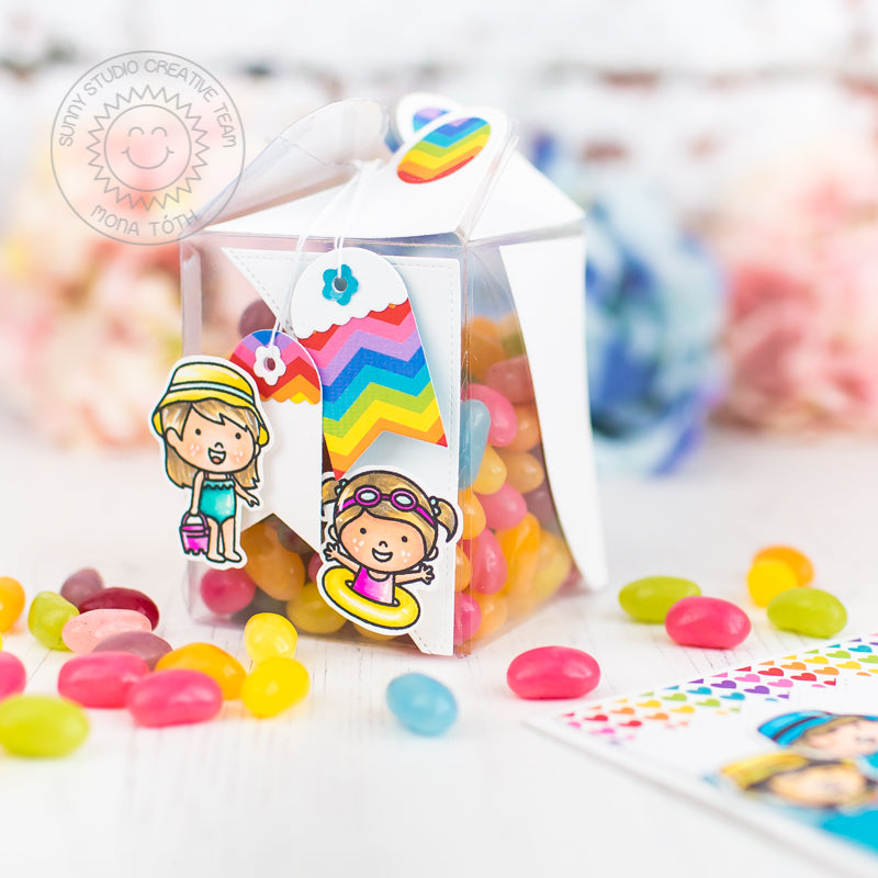Sunny Studio Stamps Rainbow Summer Girls Clear Treat Box (using Wrap Around Gift Box Dies)