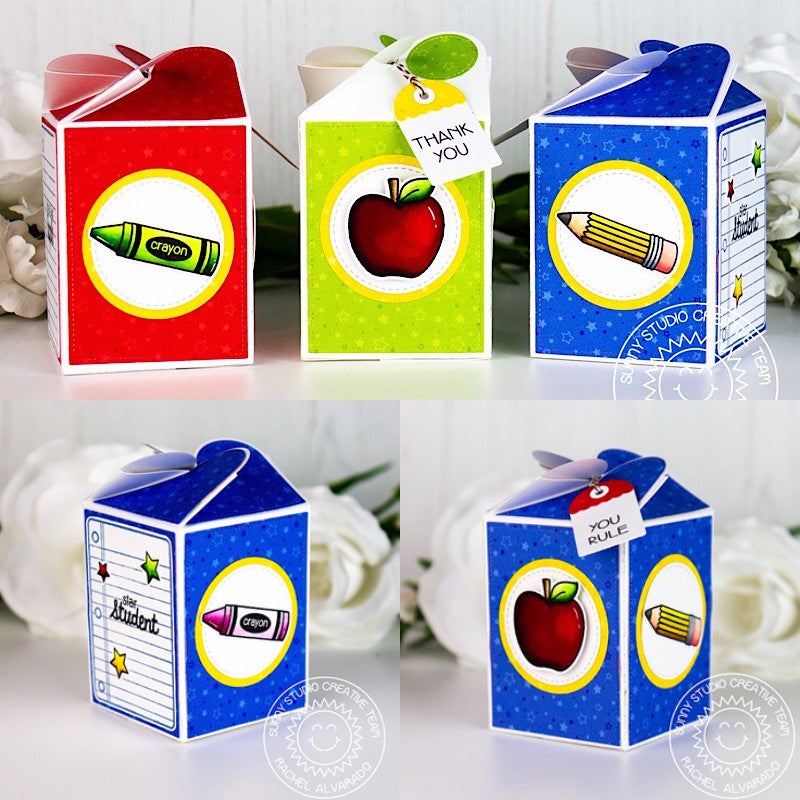Sunny Studio Stamps School Themed Treat Gift Boxes for Teachers and Students (using Wrap Around Box Dies)
