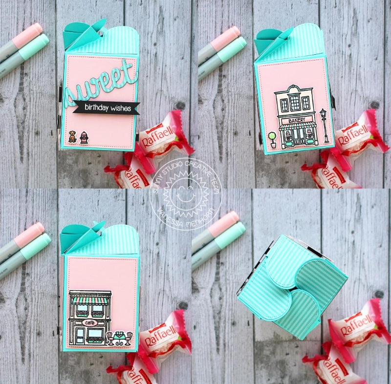 Sunny Studio Stamps Sweet Treats City Shops Pink & Aqua Gift Box (using Wrap Around Box dies)