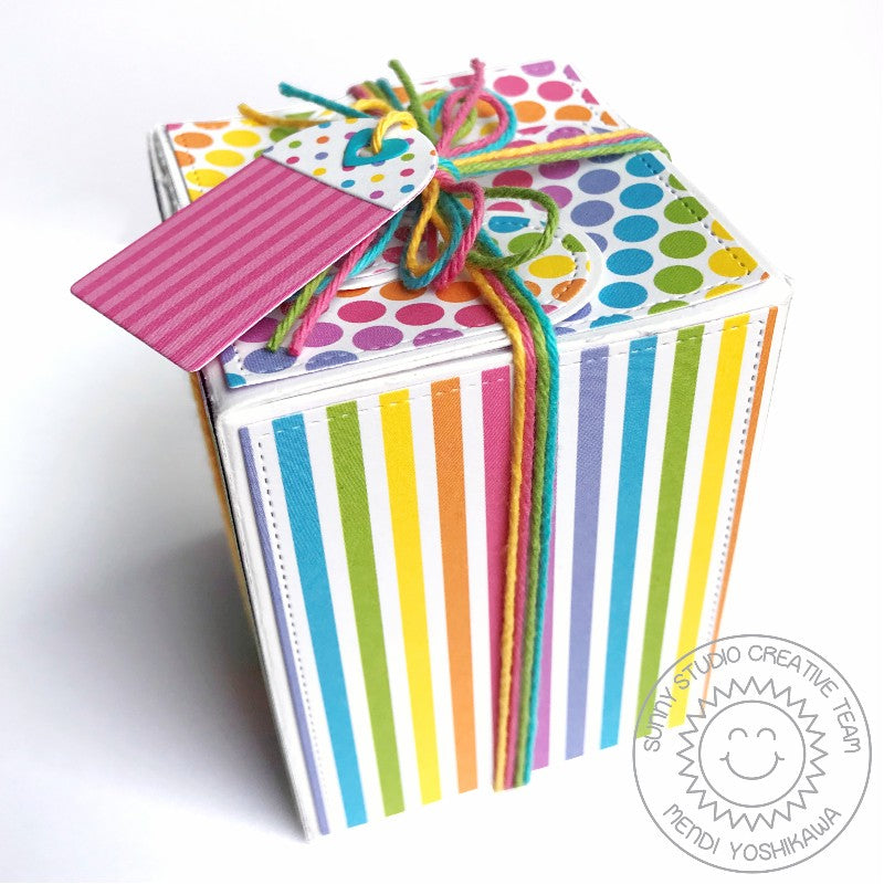 Sunny Studio Stamps Rainbow Polka-dot and Stripes Birthday Gift Box (using Wrap Around Box Dies)