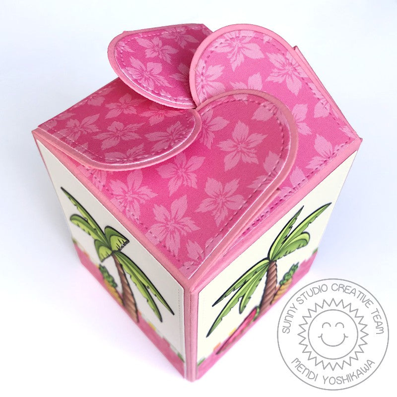 Sunny Studio Stamps Wrap Around Flamingos Birthday Gift Box with Petal Closure