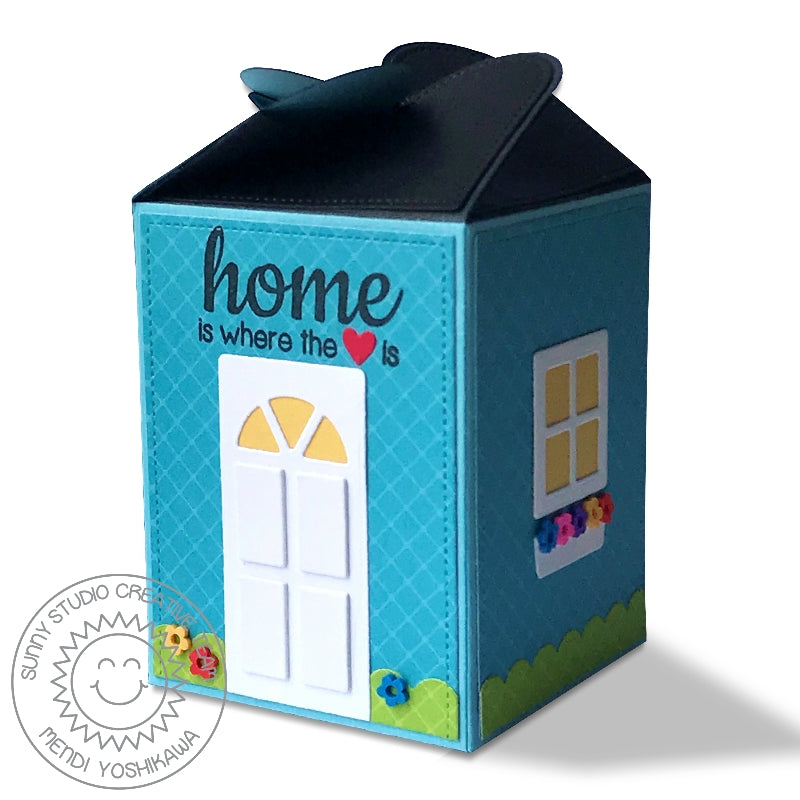 Sunny Studio Stamps Home is Where the Heart Is House Themed Wrap Around Box (using Sweet Treats House Add-on Die)