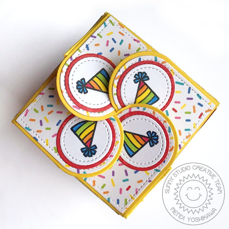 Sunny Studio Stamps Petal Closure Birthday Gift Box using Wrap Around Box Dies