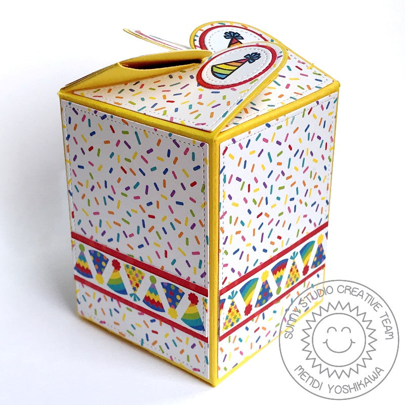 Sunny Studio Stamps Sprinkles and Party Hats Birthday Gift Box (using Surprise Party 6x6 Paper Pack)