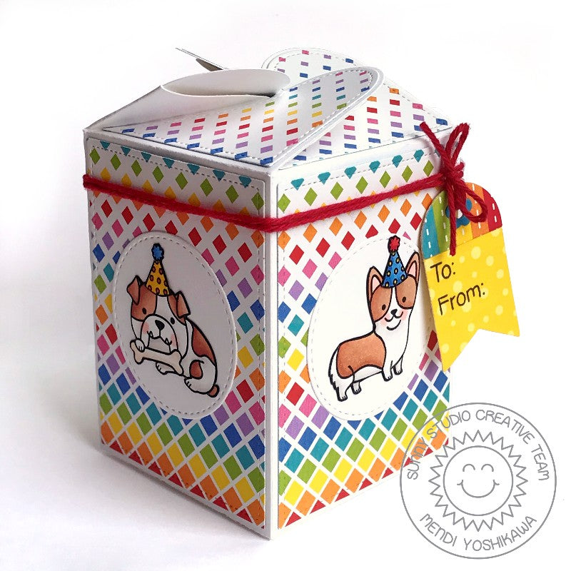 Sunny Studio Stamps Wrap Around Gift Box using Party Pups Stamps & Surprise Party 6x6 Paper