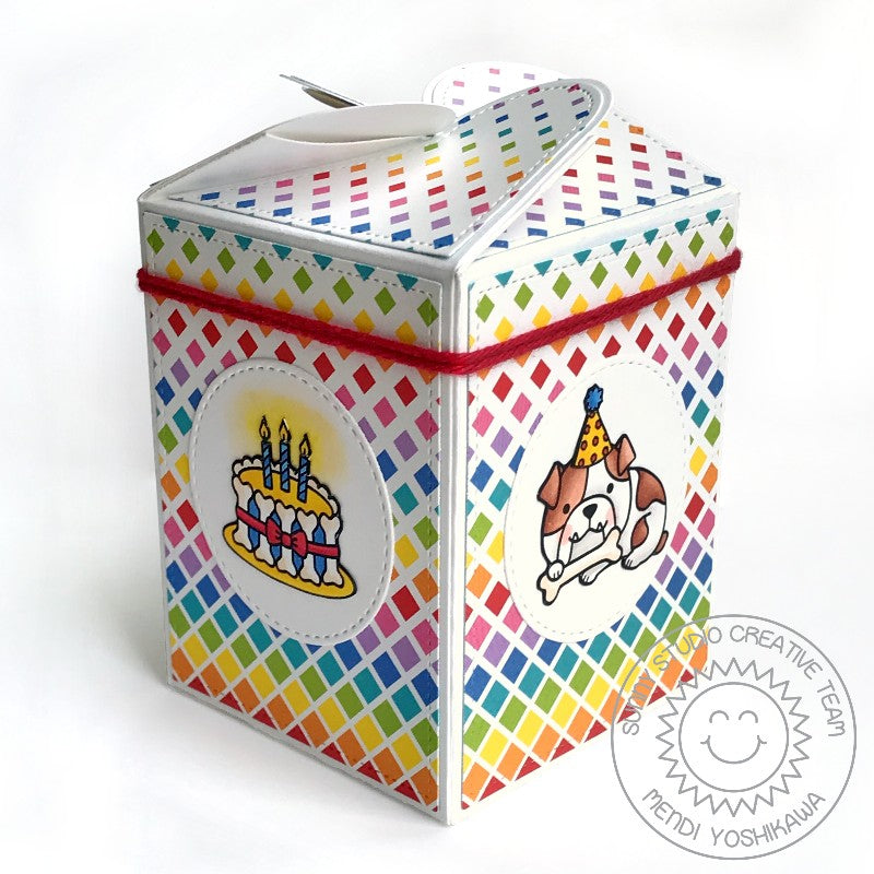 Sunny Studio Stamps Party Pups Birthday Gift Box using Wrap Around Box Dies