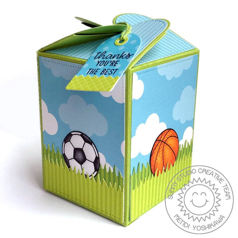 Sunny Studio Stamps Team Player Basketball & Soccer Thank You Gift Box (using Wrap Around Box dies)