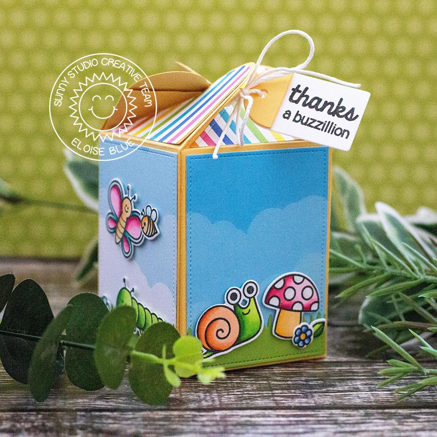 Sunny Studio Snails, Butterflies & Backyard Bugs Wrap Around Treat Gift Box by Eloise Blue