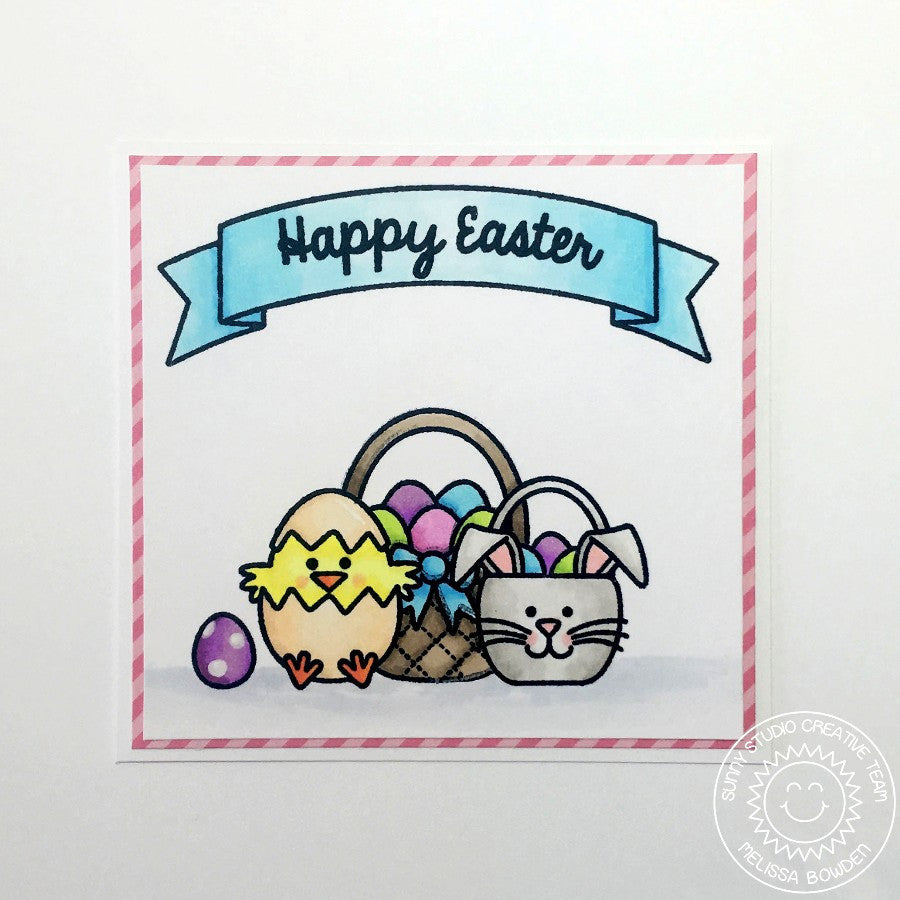 Sunny Studio Stamps A Good Egg Chick with Easter Basket Card