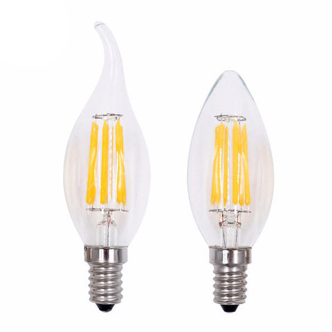 LED Filament Candle Light Bulb - E14 220V 2W 4W 6W C35 - Edison Bulb - Vintage Style