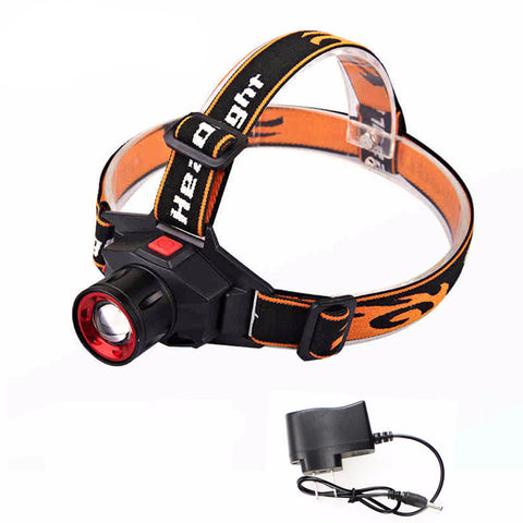 LED Headlamp - Cree - Waterproof - Built-in Lithium Battery - Rechargeable - Zoom -  with Charger