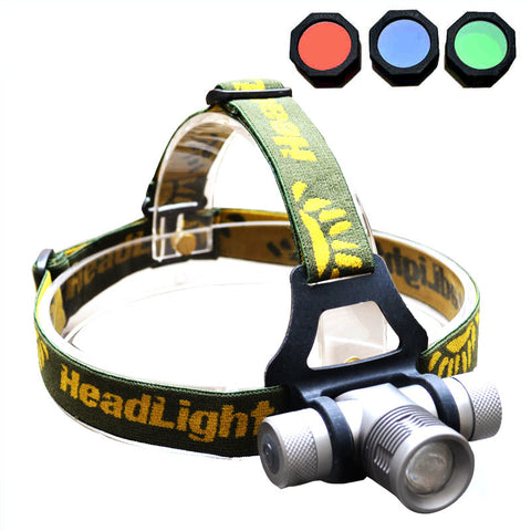 4 Color Headlamp - 1000 Lumens - CREE Q5 - Zoom - with Red/Green/Blue Diffuser