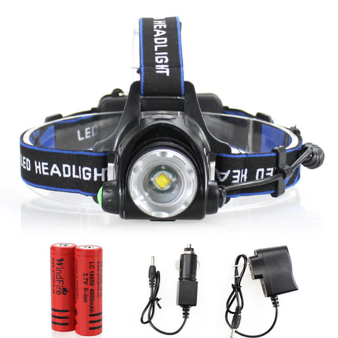 LED Headlight - Cree XML-T6 - Waterproof - 2000LM - rechargeable - Zoomable