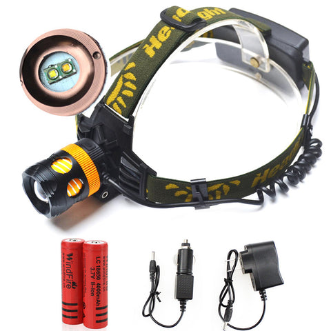 Double Bulbs LED Headlamp - Cree 2 x Q5-  Waterproof - 2000lm - Rechargeable