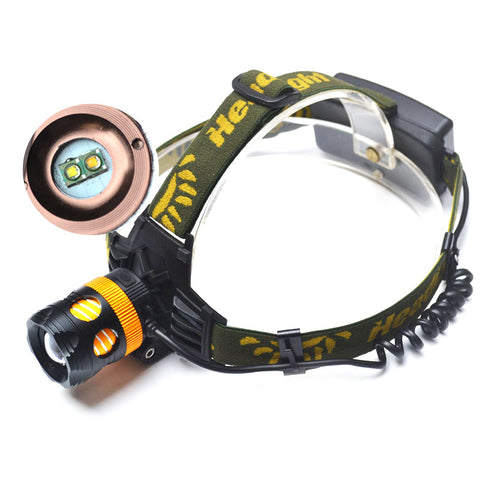 LED Headlamp Cree 2 x Q5 - Waterproof - 2000lm - White And Yellow - Rechargeable - Zoomable