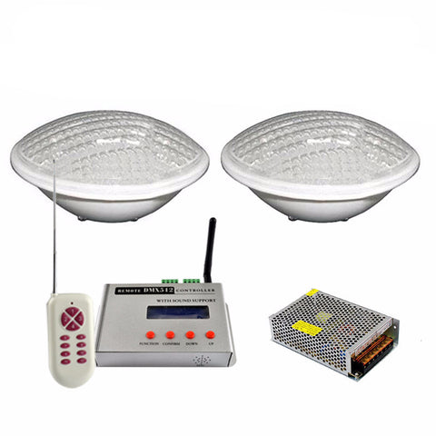 2x RGB LED Pool Light - 24W 12V-  IP68 - 351 LEDs - Underwater Lights - with DMX512 Control